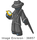 #36857 Clip Art Graphic Of A Dark Blue Guy Character With A Cane Checking A Pocket Watch