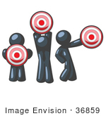 #36859 Clip Art Graphic Of Dark Blue Guy Characters Holding Targets
