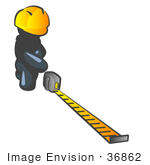 #36862 Clip Art Graphic Of A Dark Blue Guy Character Measuring