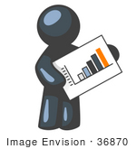 #36870 Clip Art Graphic of a Dark Blue Guy Character Holding a Printed Bar Graph by Jester Arts