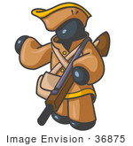#36875 Clip Art Graphic Of A Dark Blue Guy Character Hunting With A Rifle