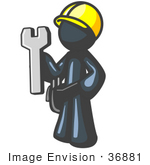#36881 Clip Art Graphic Of A Dark Blue Guy Character Handy Man With A Spanner