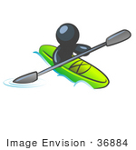 #36884 Clip Art Graphic Of A Dark Blue Guy Character Kayaking