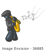 #36885 Clip Art Graphic Of A Dark Blue Guy Character Playing Jazz Music With A Sax
