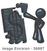 #36887 Clip Art Graphic Of A Dark Blue Guy Character Assembling A Financial Puzzle