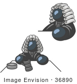 #36890 Clip Art Graphic Of A Dark Blue Guy Character Judge