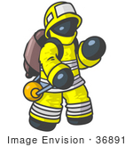 #36891 Clip Art Graphic Of A Dark Blue Guy Character Fireman