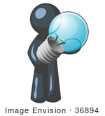 #36894 Clip Art Graphic Of A Dark Blue Guy Character Holding A Light Bulb