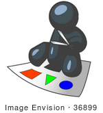 #36899 Clip Art Graphic of a Dark Blue Guy Character Cutting Shapes by Jester Arts