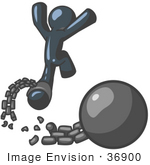 #36900 Clip Art Graphic of a Dark Blue Guy Character Breaking Free From a Ball and Chain by Jester Arts
