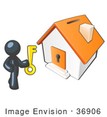 #36906 Clip Art Graphic Of A Dark Blue Guy Character Holding A Key And Standing By A House