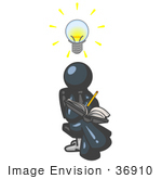#36910 Clip Art Graphic Of A Dark Blue Guy Character Jotting His Ideas Down