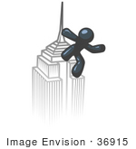 #36915 Clip Art Graphic Of A Dark Blue Guy Character On A Skyscraper
