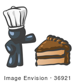 #36921 Clip Art Graphic Of A Dark Blue Guy Character Chef With Chocolate Cake