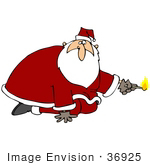 #36925 Clip Art Graphic Of Pyro Santa Holding A Lit Match And Kneeling