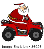 #36926 Clip Art Graphic Of Santa Having Fun And Riding A Red Atv
