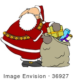 #36927 Clip Art Graphic Of Santa Pulling A Christmas Present Out Of The Toy Sack