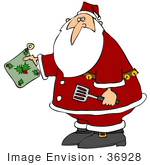 #36928 Clip Art Graphic Of Santa Holding A Spatula And Hot Pad While Cooking In The Kitchen
