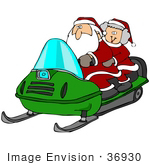 #36930 Clip Art Graphic Of Santa And Mrs Claus Having Fun On A Green Snowmobile