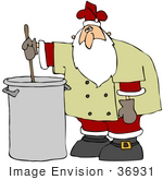 #36931 Clip Art Graphic of Santa Stirring a Pot of Soup or Stew by DJArt