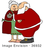 #36932 Clip Art Graphic of Santa Hugging and Adoring Mrs Claus by DJArt