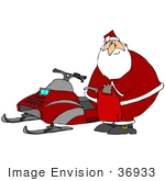 #36933 Clip Art Graphic Of Santa Holding A Gas Can And Preparing To Fill The Tank On His Snowmobile