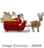 #36936 Clip Art Graphic Of Santa And His Sacks In A Sleigh Being Pulled By His Reindeer Rudolph