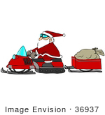 #36937 Clip Art Graphic Of Santa Pulling His Sack Of Toys In A Trailer Behind His Snowmobile