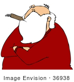 #36938 Clip Art Graphic Of Santa Looking Cynical With His Arms Crossed Smoking A Cigar