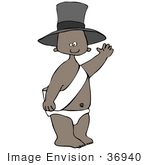 #36940 Clip Art Graphif Of An African American New Year'S Baby Boy In A Diaper Sash And Hat