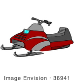 #36941 Clip Art Graphic Of A Gray And Red Snowmobile