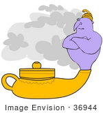 #36944 Clip Art Graphic Of A Grumpy Purple Genie Emerging From His Lamp