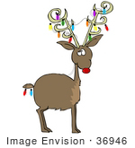#36946 Clip Art Graphic of Rudolph the Red Nosed Reindeer Decorated For Christmas With Colorful Lights in His Antlers and Hanging From His Tail by DJArt