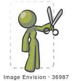 #36987 Clip Art Graphic Of An Olive Green Lady Character Cutting Coupons
