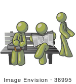 #36995 Clip Art Graphic Of Olive Green Guy Characters Waiting At A Bus Stop