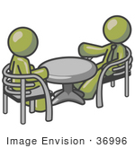 #36996 Clip Art Graphic of Olive Green Guy Characters Discussing at a Table by Jester Arts
