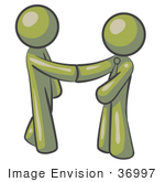#36997 Clip Art Graphic Of Olive Green Guy Characters Shaking Hands