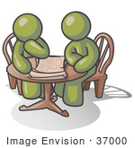 #37000 Clip Art Graphic of Olive Green Guy Characters Planning at a Table by Jester Arts