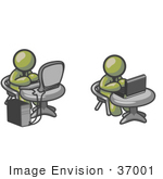 #37001 Clip Art Graphic Of Olive Green Guy Characters Working On Laptop And Desktop Computers