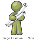 #37005 Clip Art Graphic Of An Olive Green Guy Character Holding Scrolls