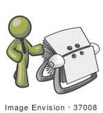 #37008 Clip Art Graphic Of An Olive Green Guy Character With A Rolodex