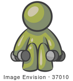 #37010 Clip Art Graphic Of An Olive Green Guy Character Working Out With Dumbbells