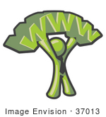 #37013 Clip Art Graphic Of An Olive Green Guy Character Holding Www