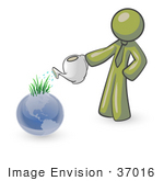 #37016 Clip Art Graphic Of An Olive Green Guy Character Watering Planet Earth