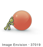 #37019 Clip Art Graphic Of An Olive Green Guy Character Pushing An Orb