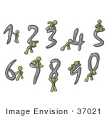 #37021 Clip Art Graphic Of An Olive Green Guy Character With Numbers