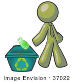 #37022 Clip Art Graphic Of An Olive Green Guy Character Recycling