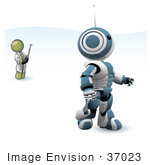 #37023 Clip Art Graphic of an Olive Green Guy Character Controlling a Robot by Jester Arts