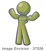 #37026 Clip Art Graphic Of An Olive Green Guy Character Flexing His Muscles