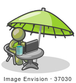 #37030 Clip Art Graphic Of An Olive Green Guy Character Working On A Laptop Under An Umbrella